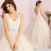 ZH1728G Charming V Neck A Line Wedding Dresses Lace Top Sequins Beaded Belt Backless Floor Length Tulle Bridal Gown