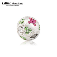 2016 Jewelry, T400 flower beads, 925 stering Silver ball, made with Swarovski Elements,for European style bracelet #Q108