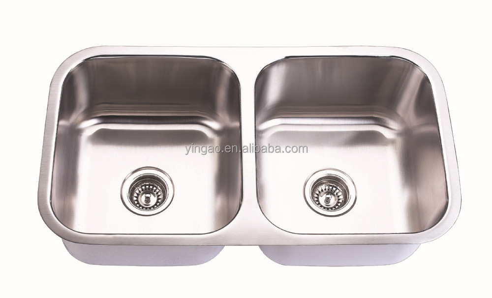 New Square Double Bowl Water Tanks European Stainless Steel Sink for Kitchen