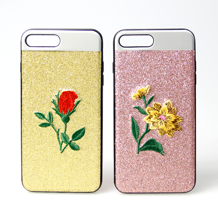 2017 fashion giltter bling sticker cover case embroidered phone case for iPhone 7 plus