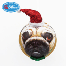 Glitter dogs hand painted Christmas glass ball ornament, personalized Christmas ornaments wholesale for Xmas decoration