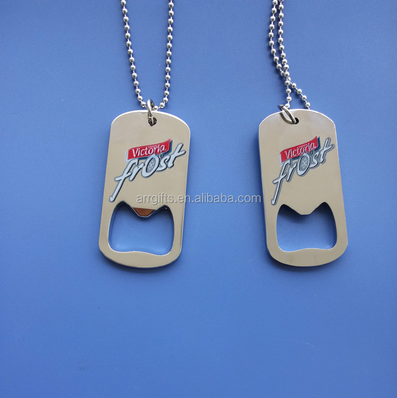 custom logo printed silver mens dog tag necklace with bottle opener