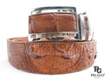 Genuine Crocodile Head Bump Skin Back Belt 46 inch Brown