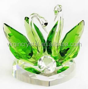 Green Crystal Swans Decoration With Top Quality K9 Crystal Raw Material For Home Decoration