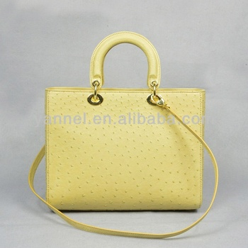 Fashion designer ostrich leather lady bags beige colors handbags