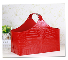 Eco friendly pu leather christmas gift basket Red crocodile faux leather storage hamper basket