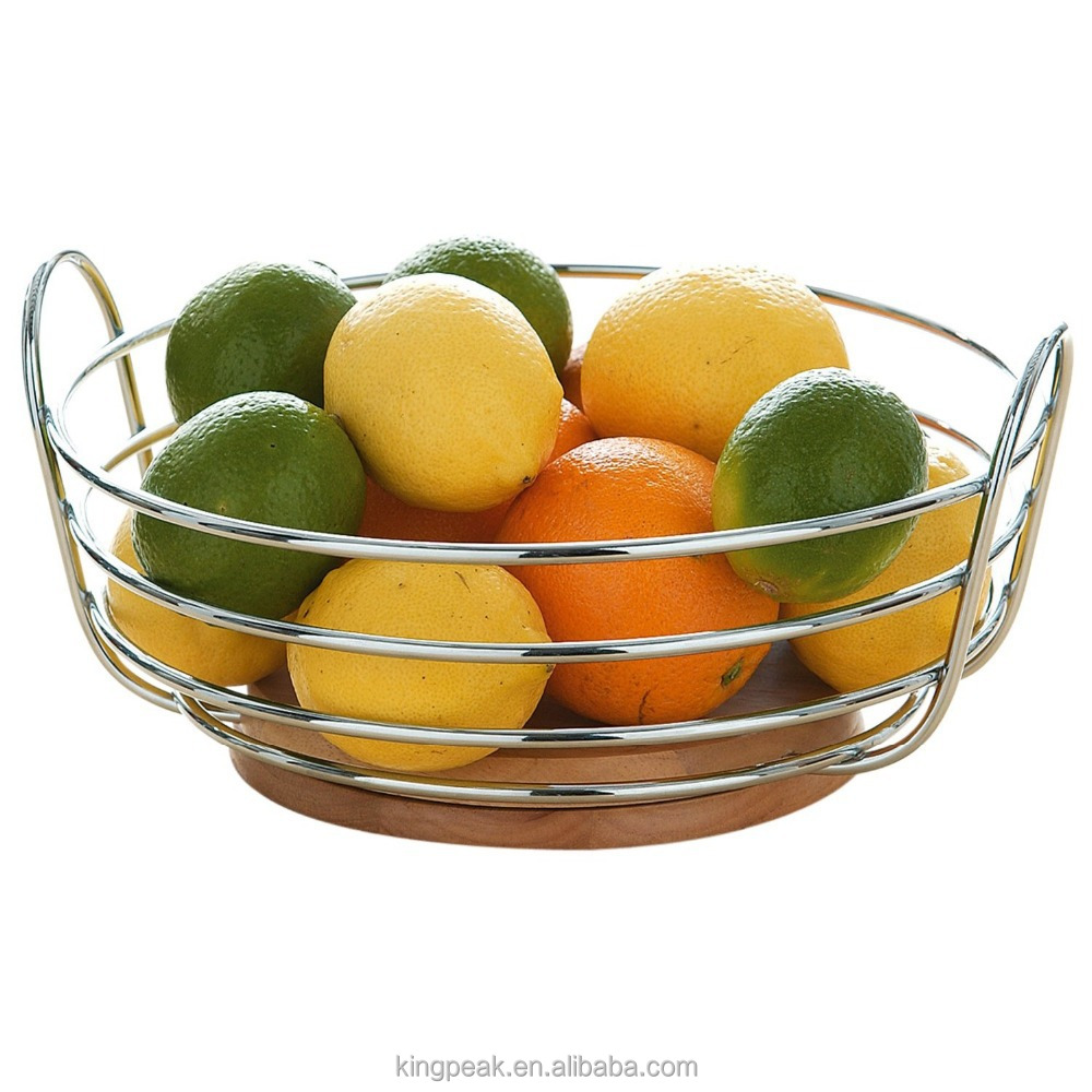 2015 Best Selling Round Chrome Wire Fruit Bowl With Rubber