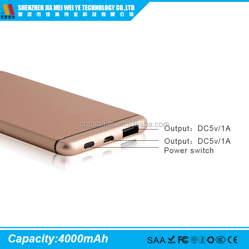 OUYI Brand power bank with 4000mAh capacity and beautiful shell