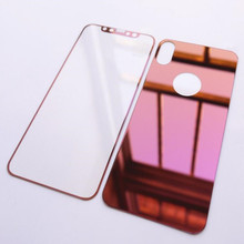 Luxury Gold Mirror Tempered Glass Front + Back Screen Protector For iPhone 6/6s plus/7/7 plus/5s