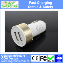 5V 2.1A Aluminium Alloy Round Dual USB Car Charger For iPad For iPhone For Samsung