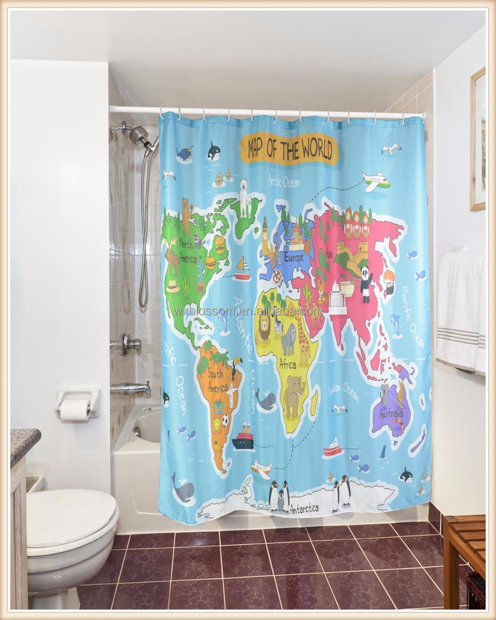 Unique Design 3D printed polyester shower curtain world map