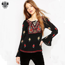 women floral printed with bind type collar black long sleeve latest tunic designs blouse
