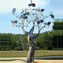 mirror polished artwork metal stainless steel tree sculpture for starred hotel shop holiday decoration