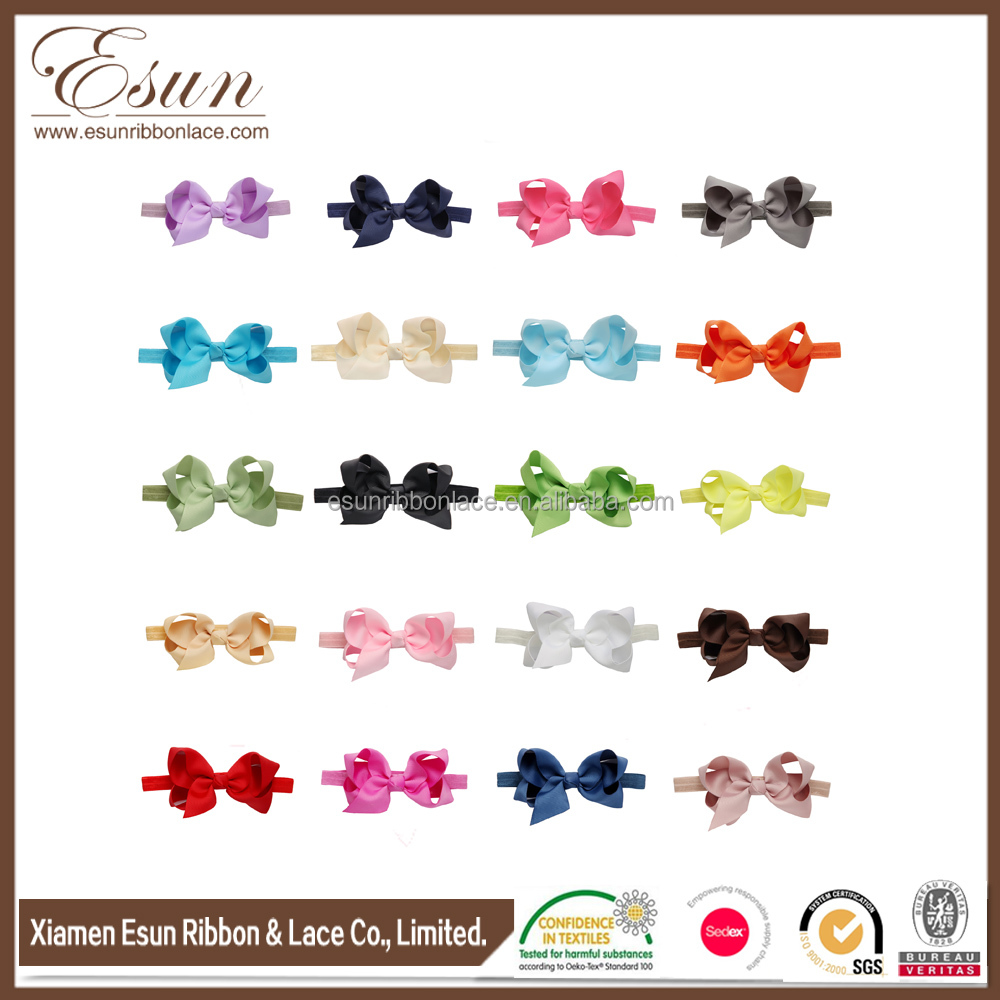 Children hair accessories bow headband ribbon hair bow baby elastic girls headbands
