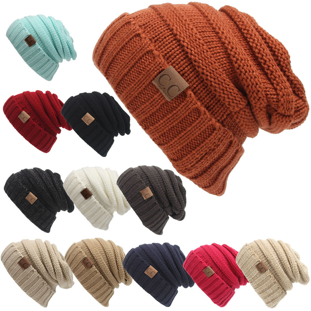 DM 692 fashion winter boys knit solid color hats gift for him ski beanie kids hat
