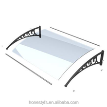 Design Aluminum Alloy / Plastic Brackets Gray Polycarbonate Window Canopy With Black Aluminium Fixing Bars of Honesty Group