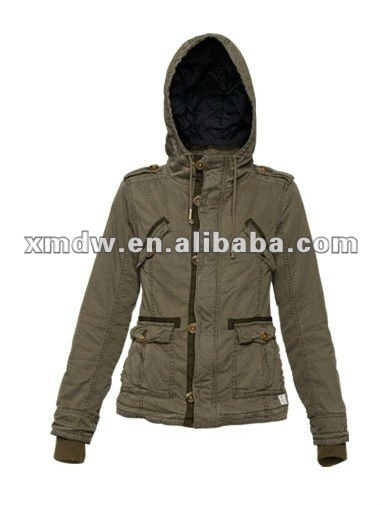 Unique design mens fitted down army green hoodie Jackets