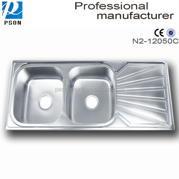Hot Sale 12050C Stainless Steel Topmount Drainboard Pedestal Portable Kitchen Sink