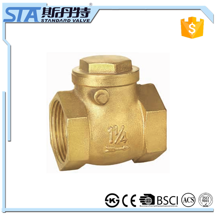 ART.4007 Manufacturer supply durable horizontal brass material swing type check valve with female threaded connects and nut