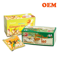 OEM Health benefits instant GINGER TEA powder with honey, brown sugar, ginseng,lemon, red dates, macha