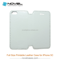 New style full size 3D sublimation pu leather case for Iphone 5C