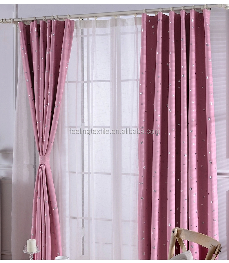 star pink blue curtain fabric simple fabric for curtain gold stamp blackout curtain