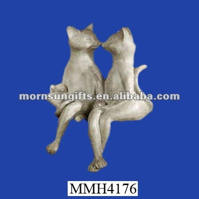 Kissing cats cute polyresin shelf sitter