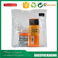 manufacture supply hot-press cosmetic clear pvc bag