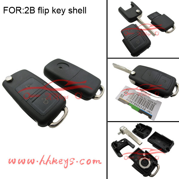 Remote Key Case For VW Volkswagen Jetta beetle 2 Buttons Keyless Fob Case No Chips Inside