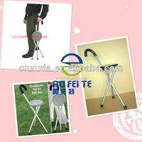 tripod walking stick,lightweight folding walking seat cane for elderly