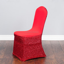 sequin Red spandex chair cover for wedding decoration