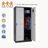 Space saving home furniture 2 door clothing steel locker/wardrobe cupboard for bedroom