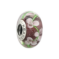 Wholesale Customized Amethyst Pink Flowers Murano Glass Bead Screw-on 925 Sterling Silver Charm L235