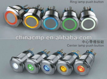 CMP stainless steel led illuminated self-locking push button switches