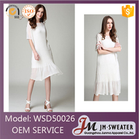 New Arrival Plain White Summer Frock Dress Lady Dress Fashion