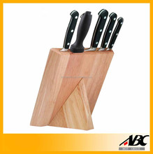 Food Safety 5pcs Stainless Steel Wooden Block Kitchen Knife