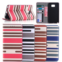 Dual Color Stripe Flip PU Leather Wallet Card Cover Case For Samsung Galaxy Note 5
