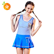 Hot Sale Summer Girls Blue Stripe Nlyon Swimwear Suit Beach Bikini