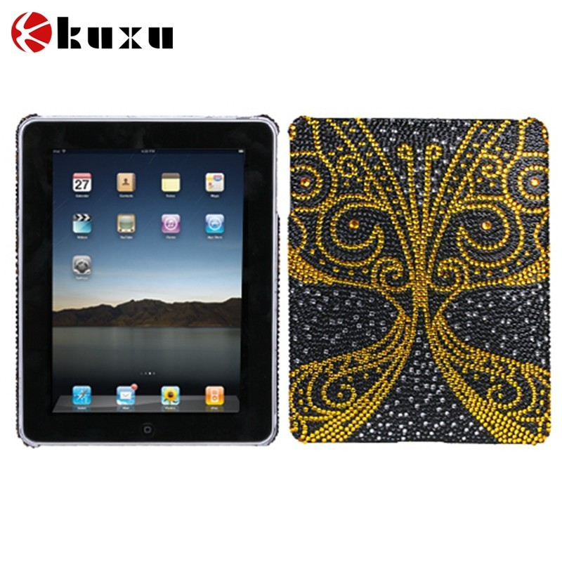 Golden Butterfly Diamante Back Protector Case Cove for apple ipad, hot selling custom case for apple iphone/ipad/macbook