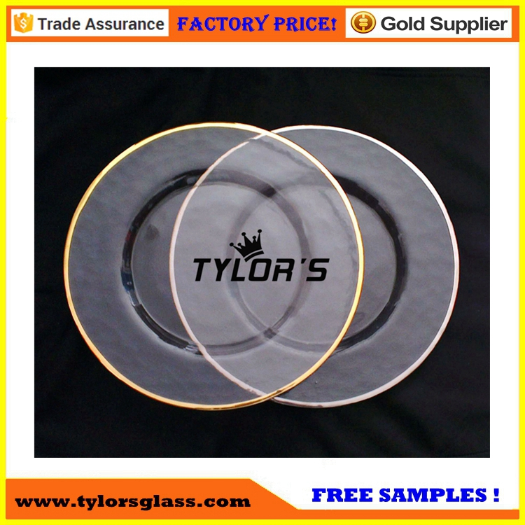 Hammered Gold Rim Glass Charger Plates For Table Decoration