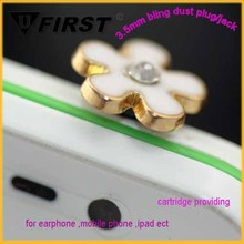 Fashion New Mobile phone Accessory White Flower Butterfly Shape Charm Cell Phone Anti Dust Ear Cap Plug