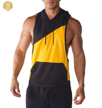 Mens Dri-Fit Contrast Pocket Stringer Two Tone Pullover Hoodie Tank Top