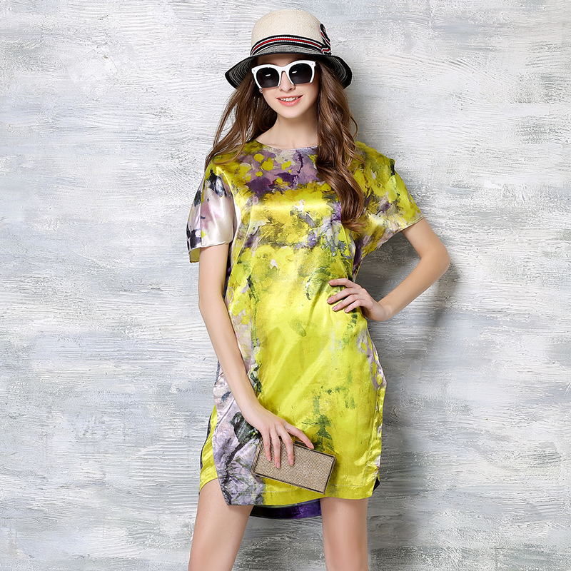 Spring/summer new style high quality Silk Satin printed floral dress