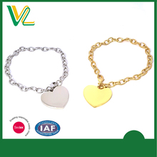 OEM high quality Zinc alloy Metal Heart Shape Nickel lobster claw Gift Bracelet