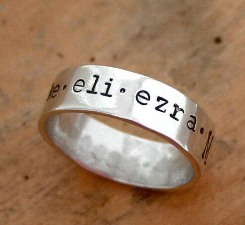 engrave black letters Mother's Ring of Names Sterling Silver