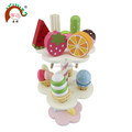 pretend play wooden ice cream and fruit toy set with display shelf