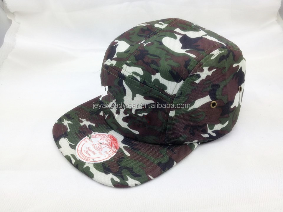 2015 wholesale cheap underbrim cap /Custom headwear five panel blank camp cap/camo flat brim cap plastic label