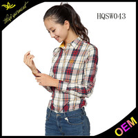 wholesale cheap price long sleeve plaid shirt for women