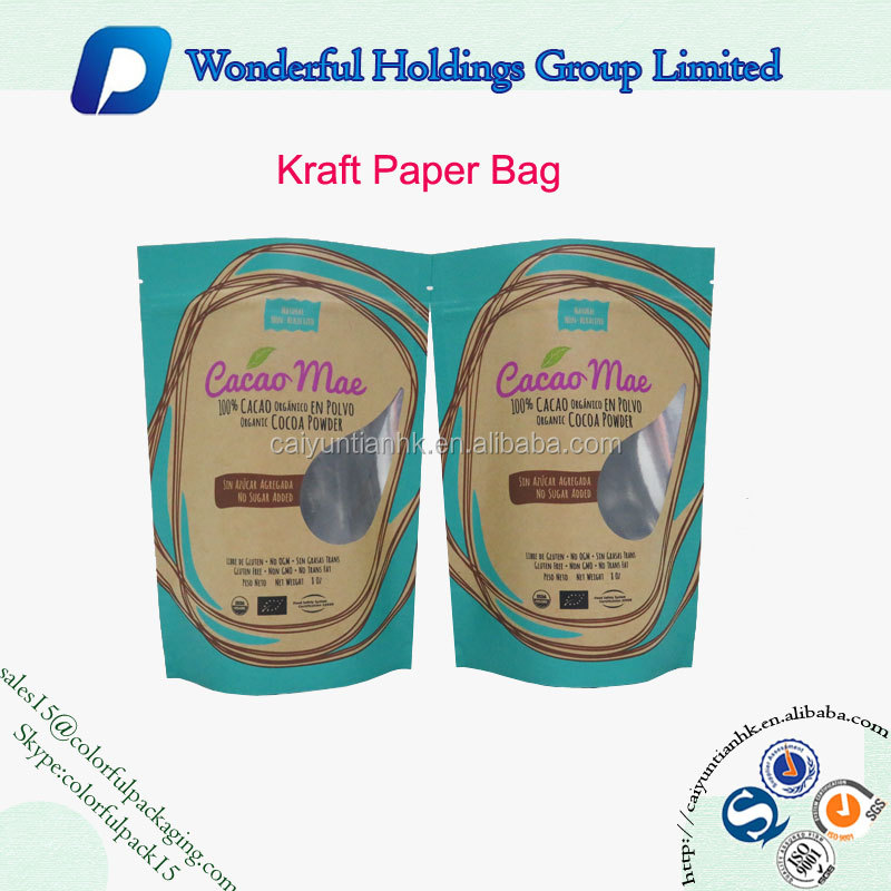 customize coconut powder packaging bag aluminum standup zipper pouch kraft paper bag with window