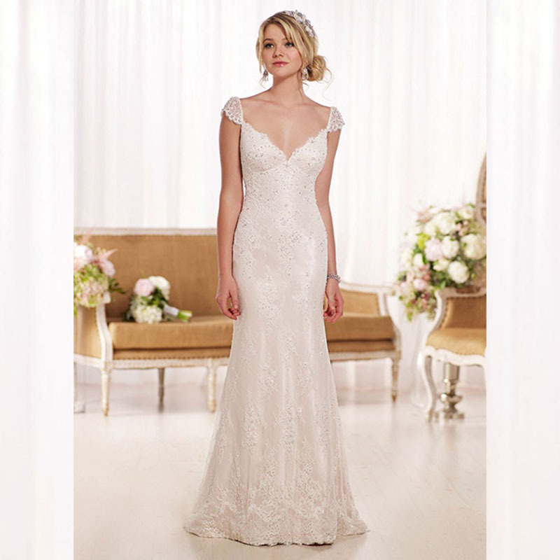 Buy Backless Mermaid Wedding Dress 2015 Sleeveless Lace Wedding